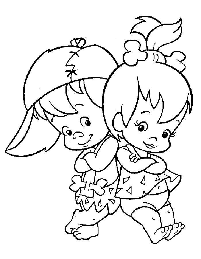 Раскраска  Флинстоуны, Бам Бам баббл и крошка. Скачать Флинстоуны.  Распечатать Флинстоуны