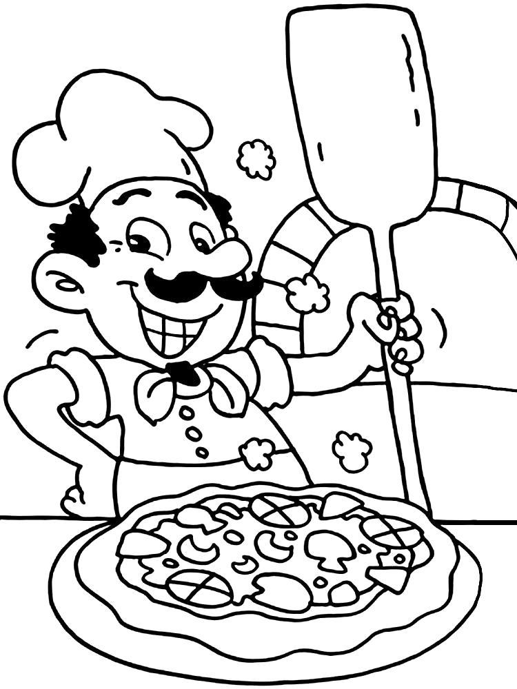 Раскраска Повар делает Пиццу. Скачать .  Распечатать