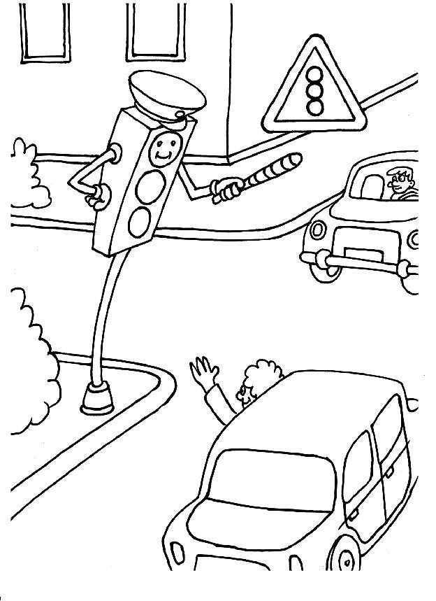 Раскраска Светофор. Скачать Правила дорожного движения.  Распечатать Правила дорожного движения