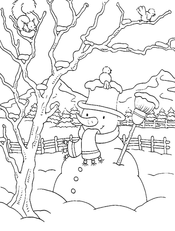 Раскраска Снеговик и белочка - . Скачать снеговик.  Распечатать Зима
