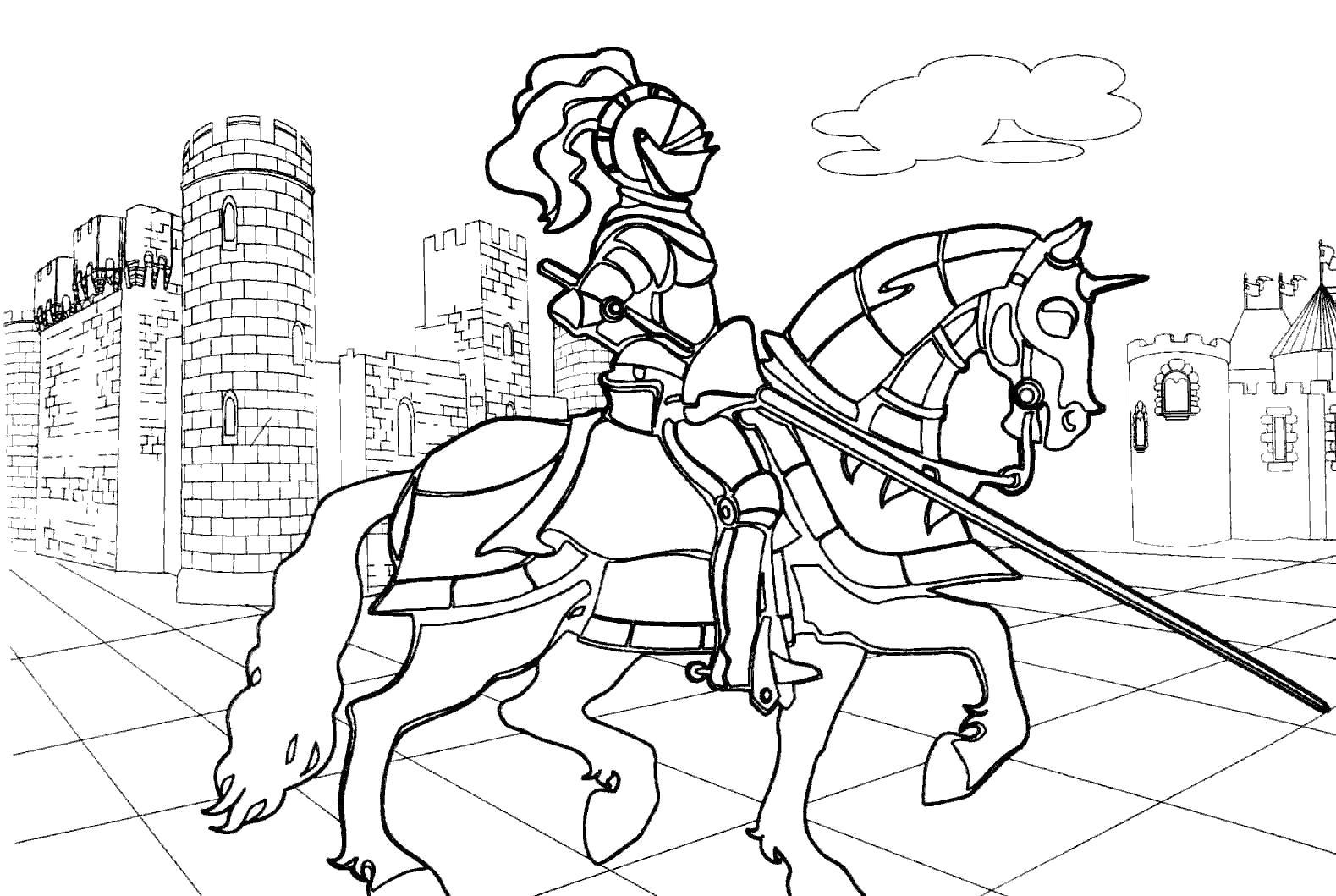 Раскраска Средневековый рыцарь на коне. Скачать Рыцарь.  Распечатать Рыцарь