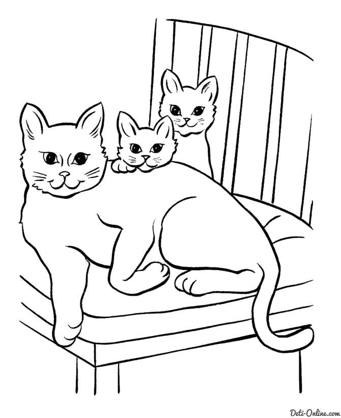 Раскраска  Кошка и два котенка. Скачать кошка, Котенок.  Распечатать Домашние животные