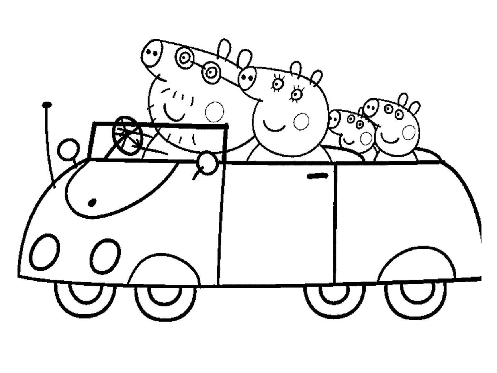 Раскраска  Свинка Пеппа в машине. Скачать Свинка Пеппа.  Распечатать Свинка Пеппа