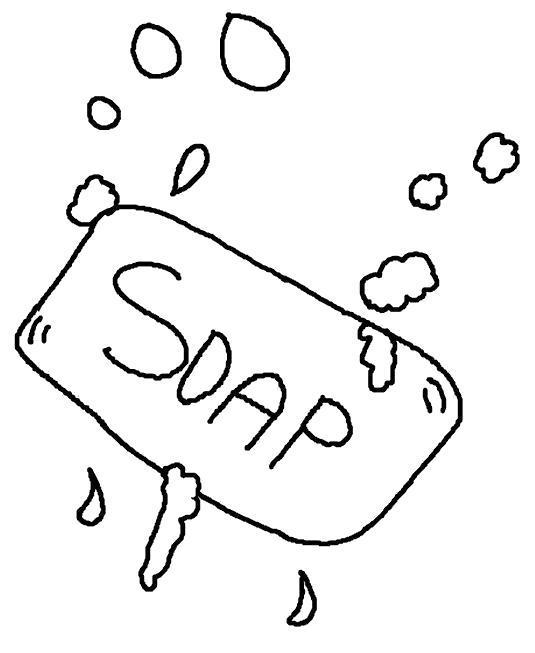 Раскраска мыло, личная гигиена, быть чистым. Скачать Мыло.  Распечатать Мыло