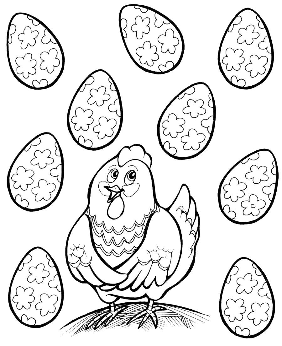 Раскраска Курочка Ряба с красивыми яйцами. Скачать курочка ряба.  Распечатать курочка ряба