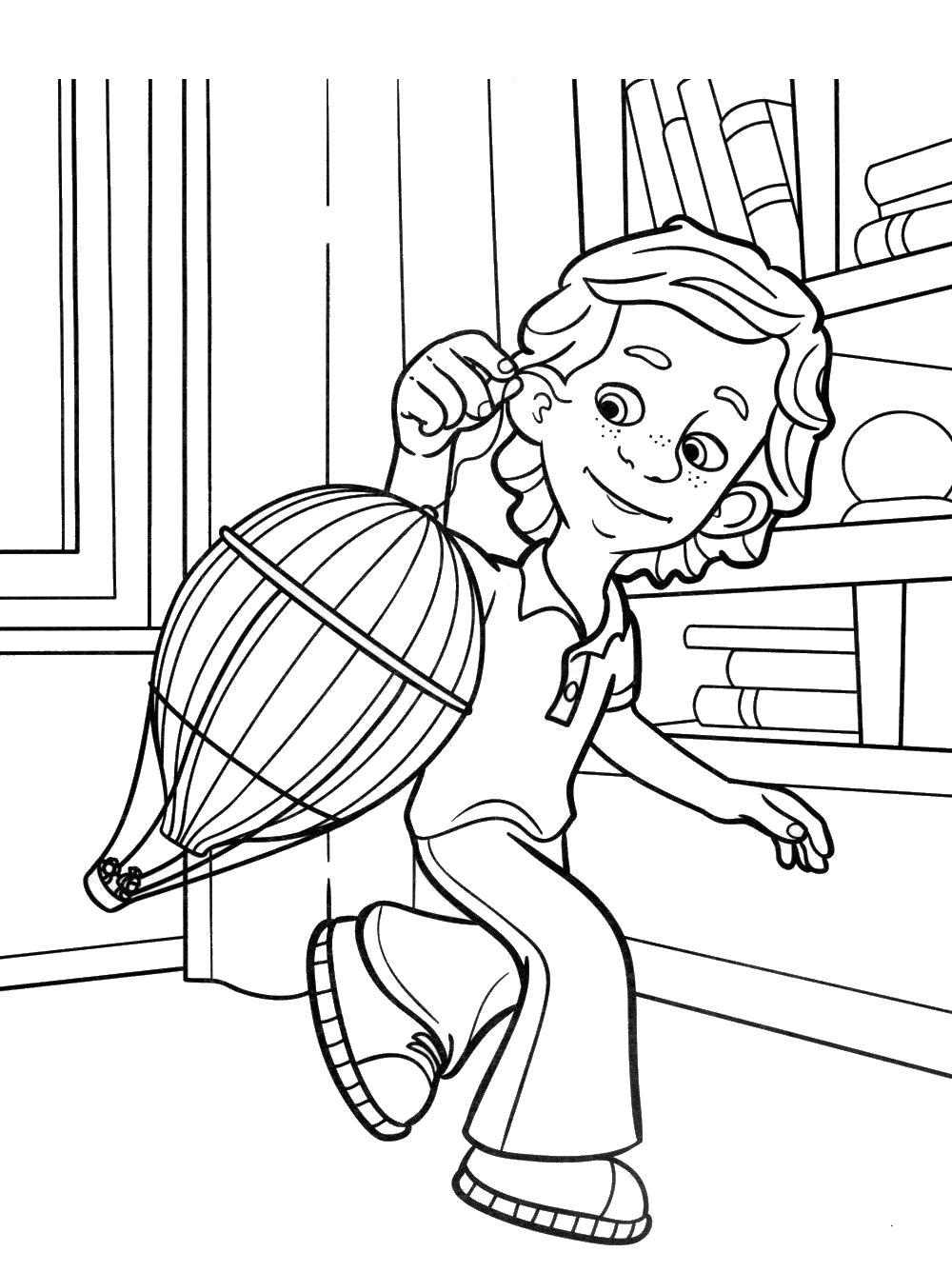 Раскраска  Симка и Нолик на воздушном шаре. Скачать .  Распечатать