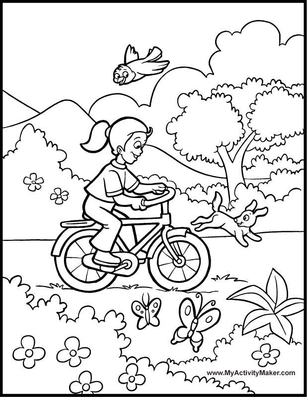Раскраска девочка катается на велосипеде. Скачать Весна.  Распечатать Весна