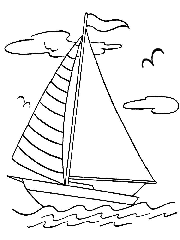 Раскраска Лодочка. Скачать корабли.  Распечатать корабли
