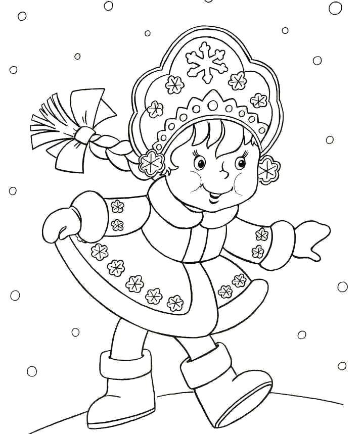 Раскраска Озорная снегурочка. Скачать Снегурочка.  Распечатать Снегурочка