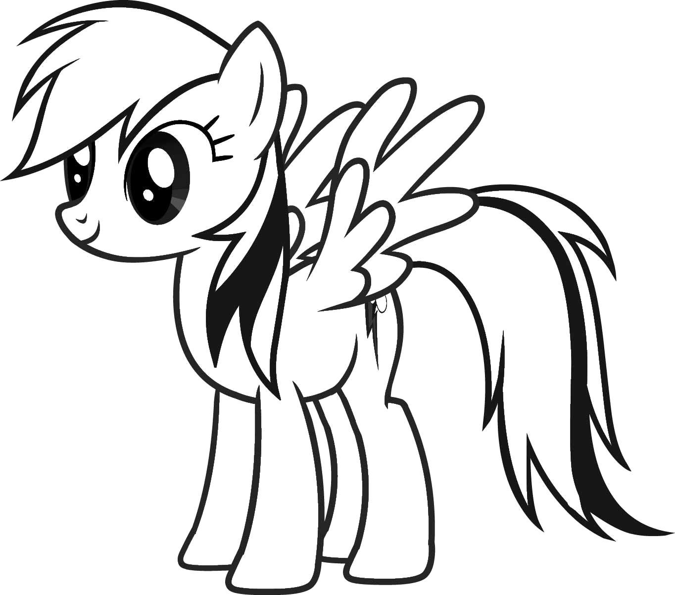 Раскраска пони радуга. Скачать пони.  Распечатать пони