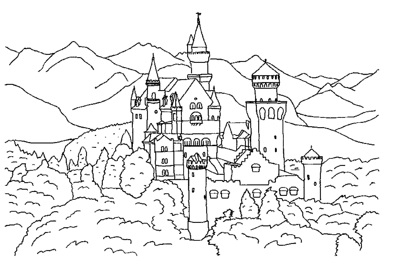 Раскраска сказочный замок. Скачать Замок.  Распечатать Замок