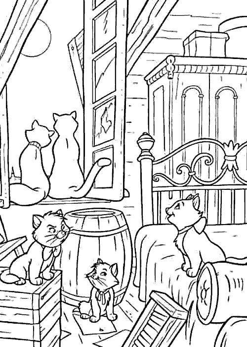Раскраска Много котов. Скачать кот, кошка.  Распечатать Домашние животные