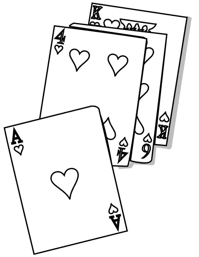 Раскраска сердечки на картах. Скачать сердечки.  Распечатать сердечки
