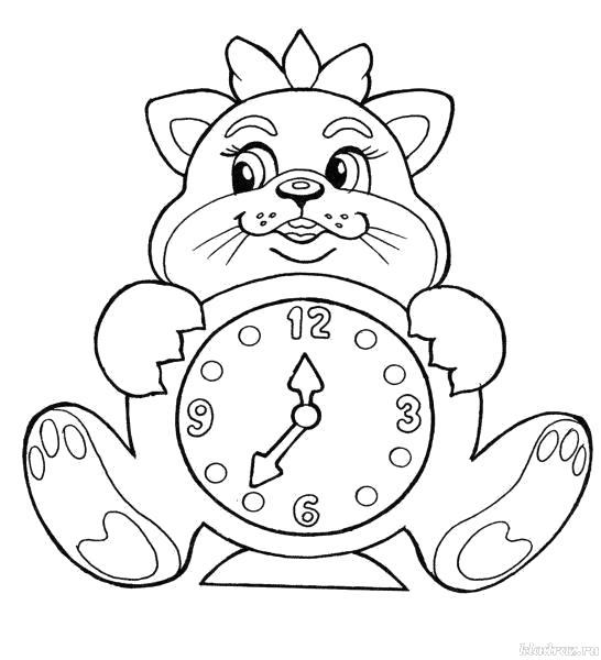 """Раскраска  """"часы"""" кошка с часами. Скачать Часы.  Распечатать Часы"""