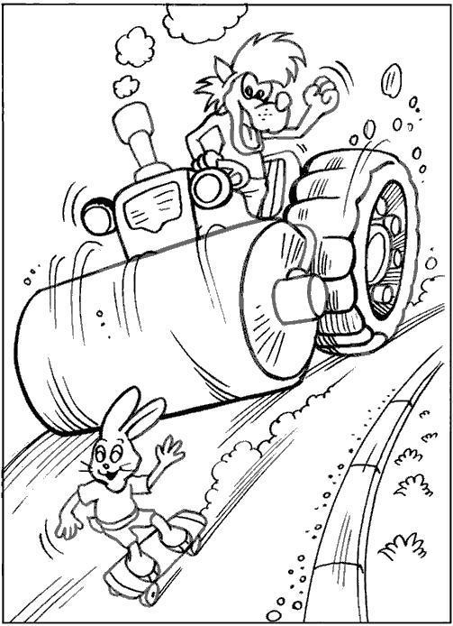 Раскраска Волк на катке гонится за зайцем. Скачать .  Распечатать