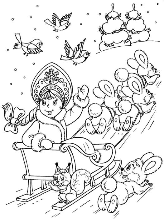 Раскраска Снегурочка едет на санях с зайцами.. Скачать Снегурочка, Санки.  Распечатать Новый год