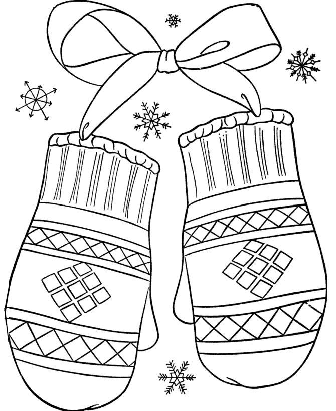 Раскраска Изображение, зимняя одежда, варежки с бантиком. Скачать .  Распечатать