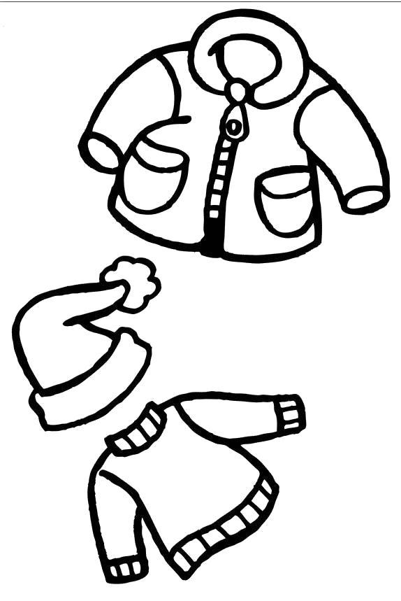 Раскраска Зимняя одежда, кофта, шапка с бубенчиком, куртка. Скачать Зимняя одежда.  Распечатать Зимняя одежда
