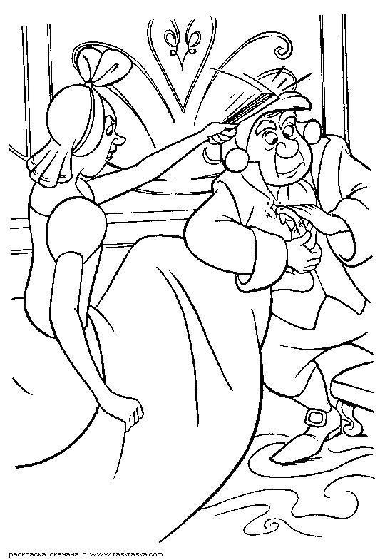 Раскраска  Туфелька и ей мала.  Сестры меряют хрустальный башмачок, он им мал. Разукрашка Золушка для детей из мультика. Скачать Золушка.  Распечатать Золушка