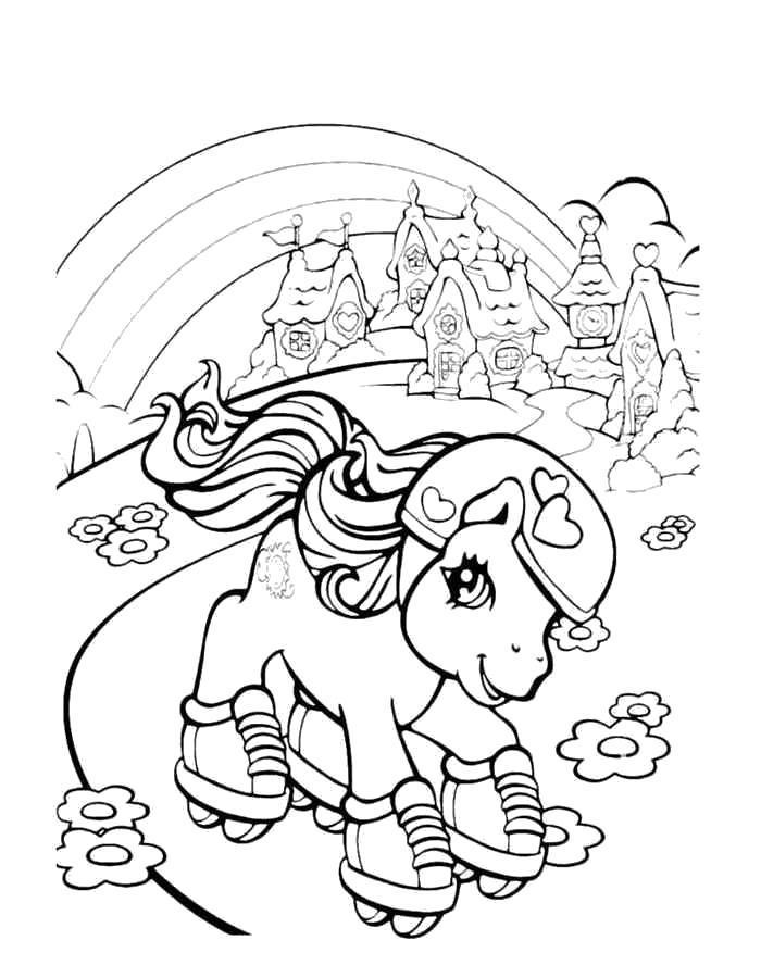 Раскраска Пони на роликах- Май Литл Пони. Скачать .  Распечатать