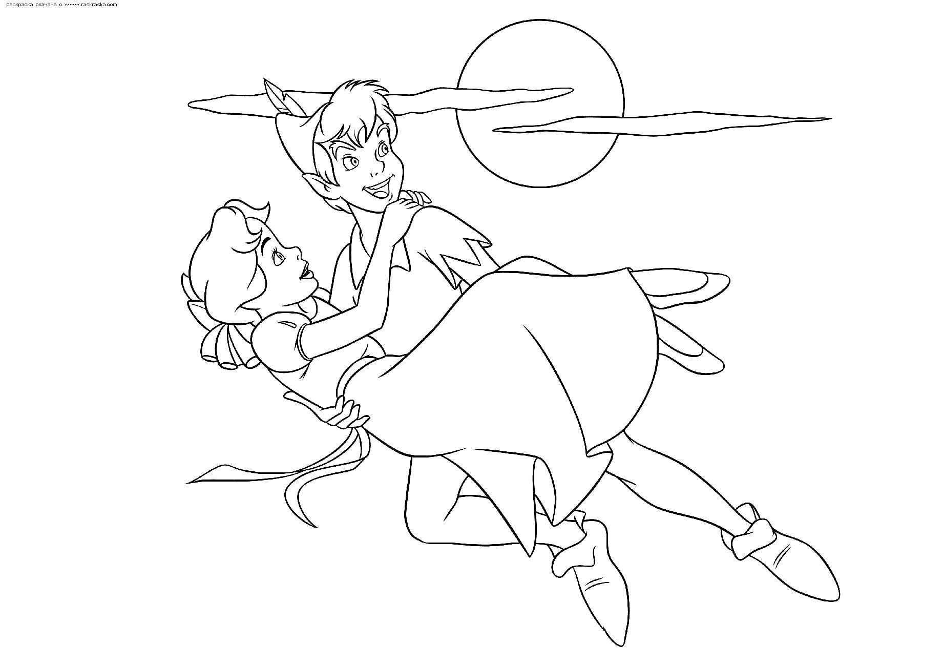 Раскраска  Питер Пэн держит девочку Венди на руках. Скачать Питер Пэн.  Распечатать Питер Пэн