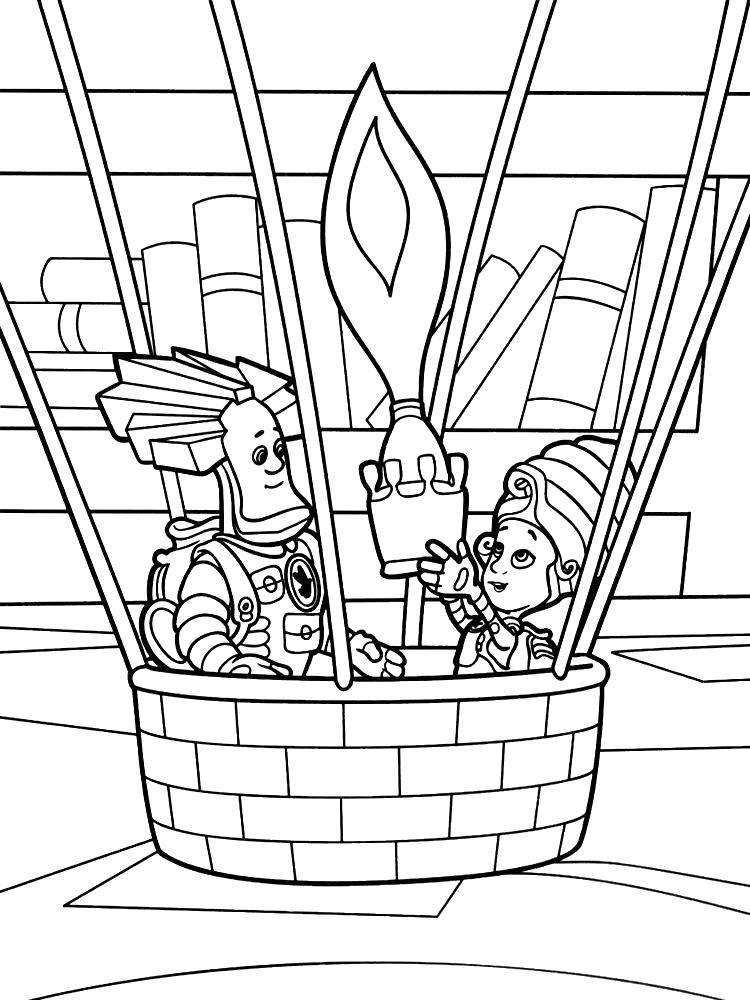Раскраска Фиксики  и картинки для детского творчества. Мася и папус в воздушном шаре.. Скачать Мася, Папус.  Распечатать Фиксики
