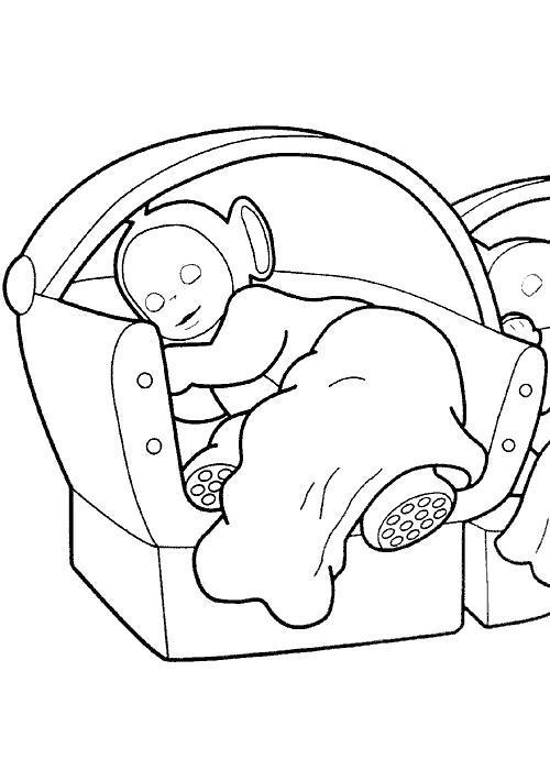 Раскраска телепузик спит на кресле. Скачать Телепузики.  Распечатать Телепузики