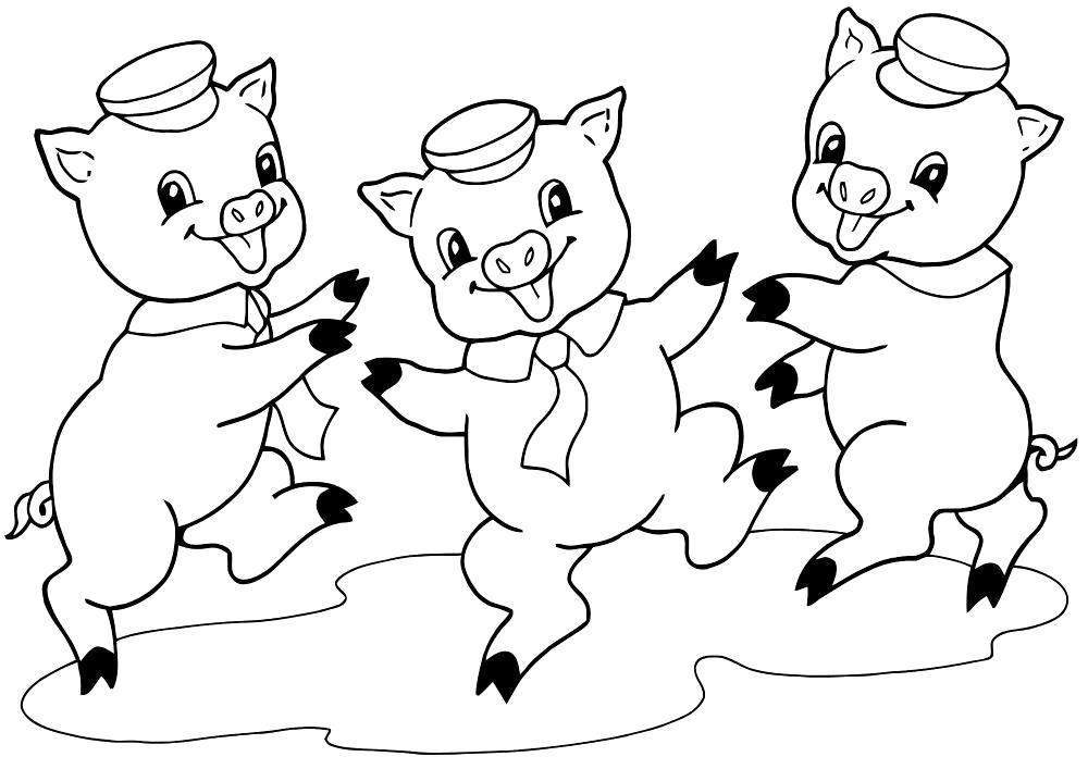 Раскраска три поросенка веселятся, три поросенка танцуют, три поросенка в луже. Скачать три поросенка.  Распечатать три поросенка