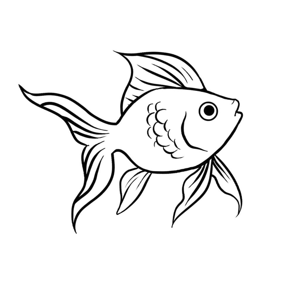 """Раскраска  """"золотая рыбка из сказки с короной"""" скачать и распечатать бесплатно. Скачать рыба.  Распечатать Рыбы"""