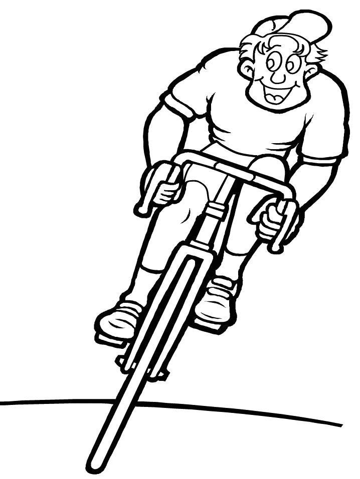 Раскраска Счастливый велосипедист . Скачать .  Распечатать