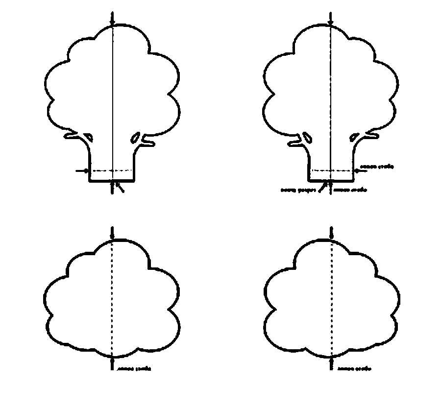 Раскраска  Деревья для вырезания из бумаги шаблон дерева, вырезать из бумаги. Скачать Шаблон.  Распечатать Шаблон