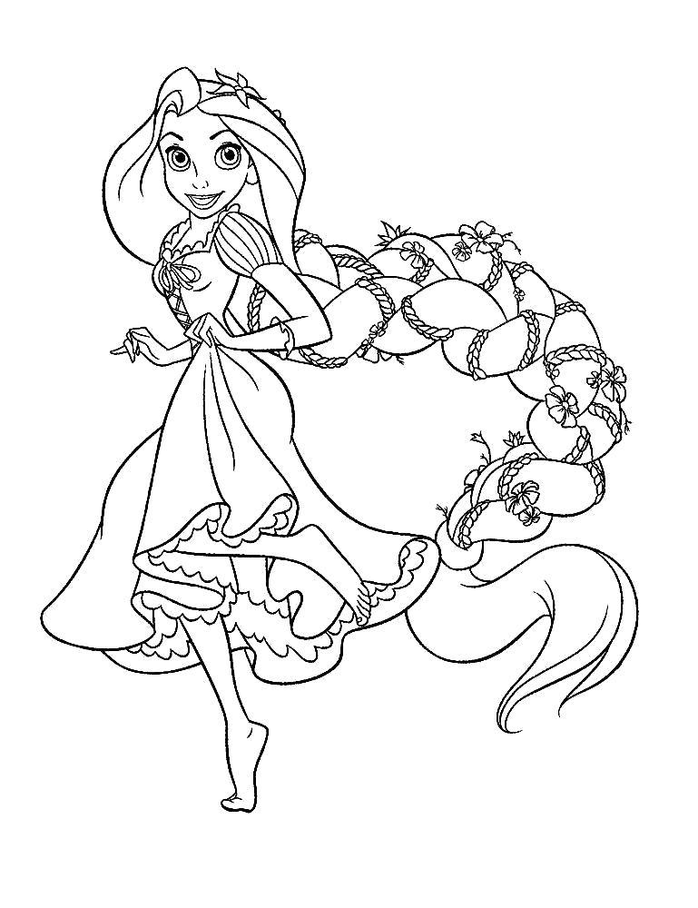 Раскраска   для девочек Рапунцель. Скачать Рапунцель.  Распечатать Рапунцель