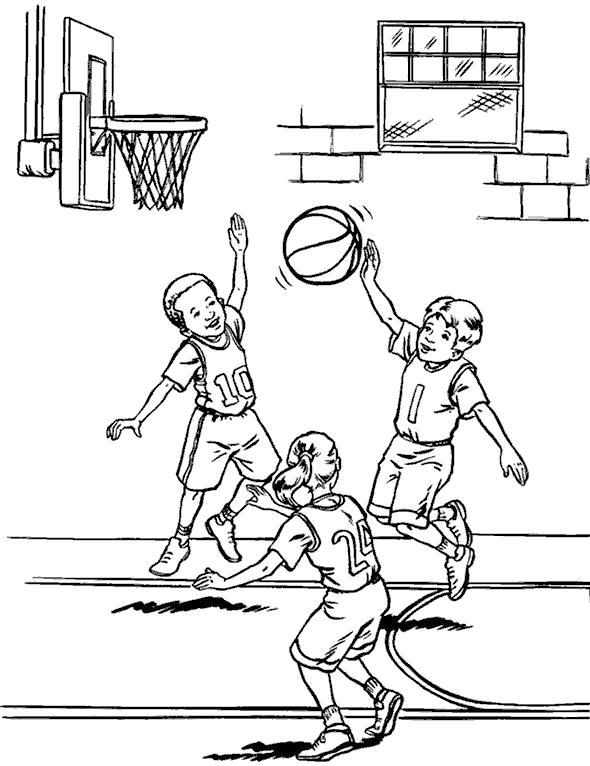 Раскраска мальчики играют в баскетбол, мяч, баскетбольная сетка, баскетбольный щит. Скачать Баскетбол.  Распечатать Баскетбол