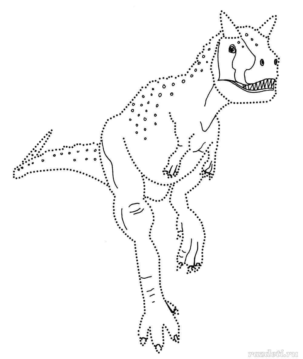 Раскраска  для детей. Динозаврики по линиям. Скачать динозавр.  Распечатать динозавр