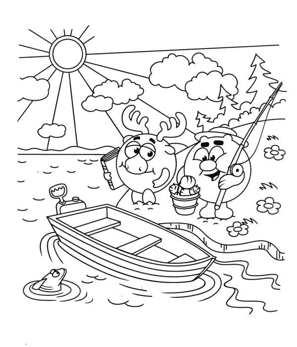 Раскраска  смешарики лосяш и копатыч. Собираются на рыбалку.. Скачать Лосяш, Копатыч.  Распечатать Смешарики