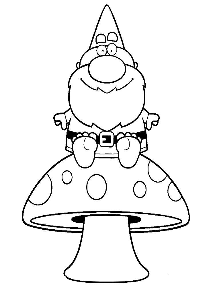 Раскраска Добрый старенький гномик и большой грибок.. Скачать гриб.  Распечатать растения