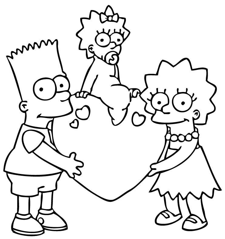 Раскраска  симпсоны. Бард и Лиза держат сердце, Мэгги сидит на сердце. Скачать Симпсоны.  Распечатать Симпсоны