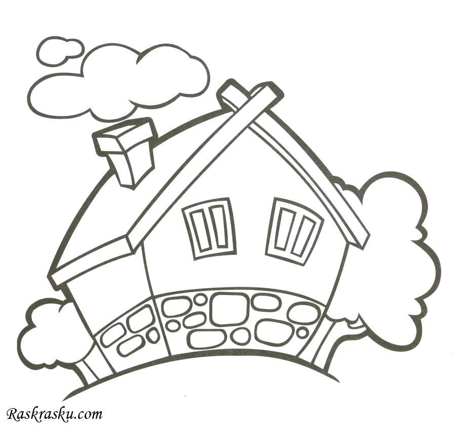 Раскраска Дом с окнами. Скачать Дом.  Распечатать Дом