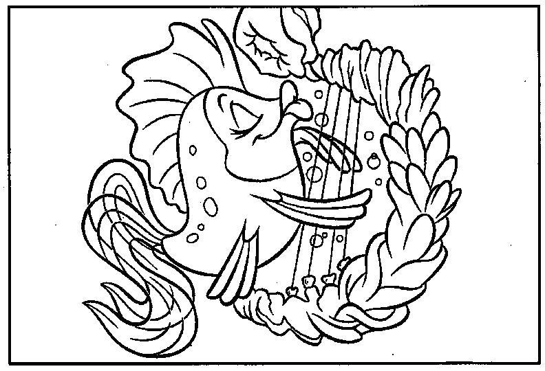 Раскраска Золотая рыбка и арфа. Скачать .  Распечатать