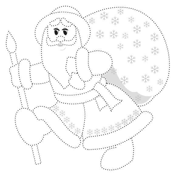 Раскраска Обеди деда мороза. Скачать по точкам.  Распечатать по точкам