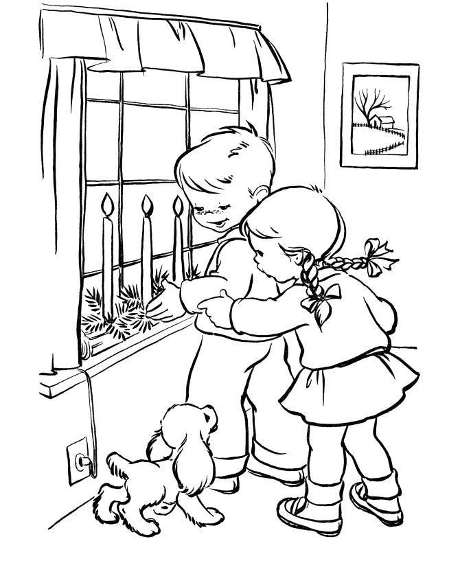 Раскраска Детишки и щенок. Скачать .  Распечатать