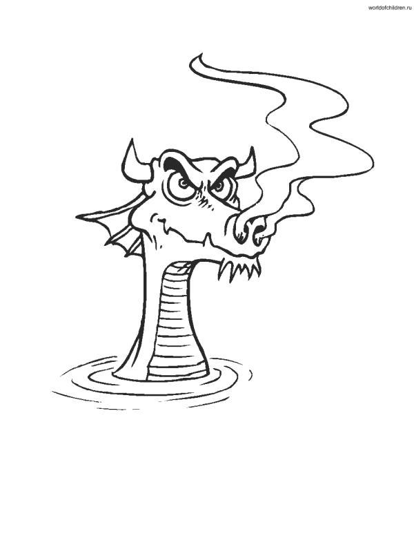 Раскраска  для детей с драконом. Скачать дракон.  Распечатать мифические существа