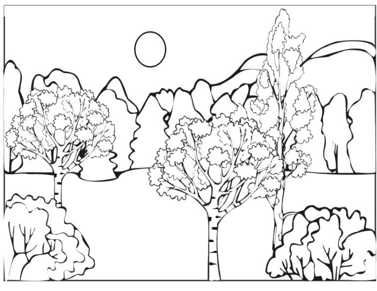 Раскраска на деревьях появляются листики. солнышко светит, много деревьев. Скачать Весна.  Распечатать Весна