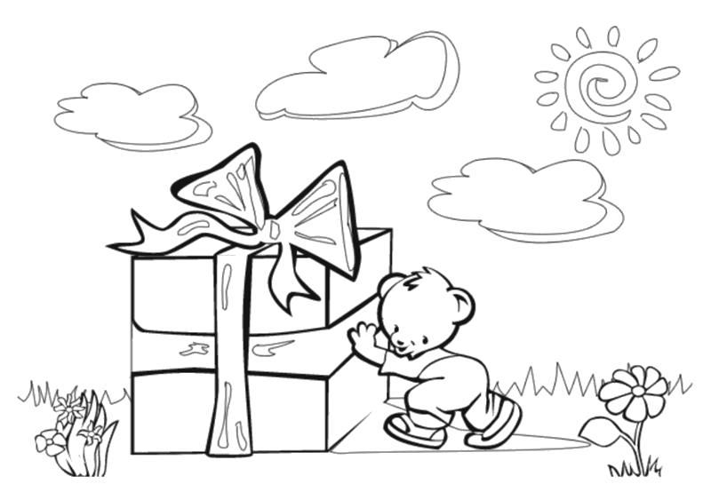 Раскраска Доставка подарков, мишка и пподарок. Скачать подарок.  Распечатать подарок