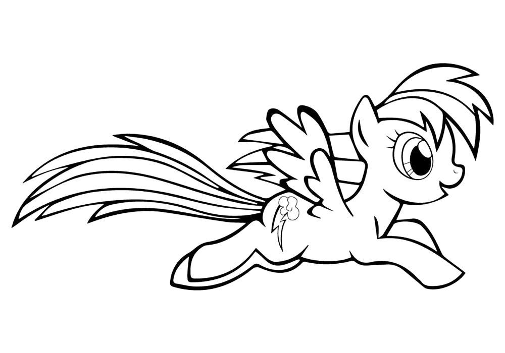 Раскраска  пони Радуга . Скачать Пони.  Распечатать Пони
