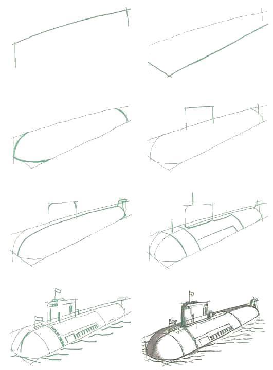 Раскраска Рисуем Атомная подводная лодка Курск (Россия). Скачать Подводная лодка.  Распечатать Подводная лодка