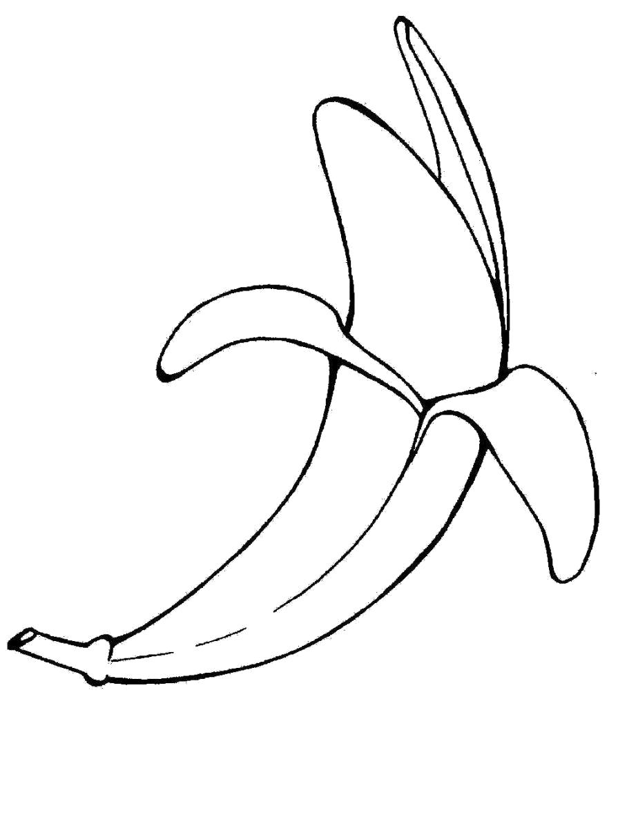 Раскраска Вкусный банан. Скачать банан.  Распечатать Фрукты