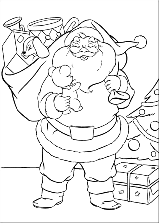 Раскраска дед мороз несет подарки, подарки, мешок с подарками. Скачать новогодние.  Распечатать новогодние