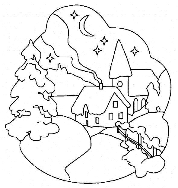 Раскраска Дом в лесу. Скачать Дом.  Распечатать Дом
