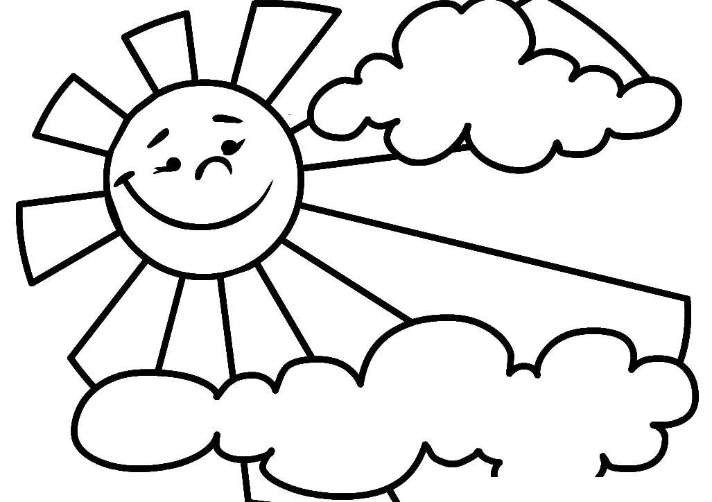 Раскраска  солнышко из - за облаков. Скачать Солнышко.  Распечатать Солнышко